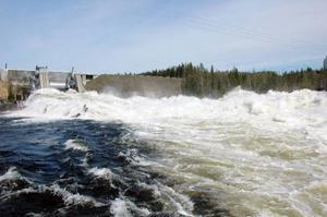 Här vid Näsaforsens kraftverk utanför Föllinge i Krokoms kommun är det som på så många andra håll i norrland extrema vattenflöden just nu. I vattendraget Hårkan som rinner igenom kraftverket uppstår liknande extrema vattenflöden bara en gång på 100 år.