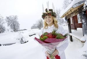 """""""Jag har bara varit lucia en gång tidigare och det var i femte klass, säger Linnéa Edvinsson, framröstad som Jämtlands lucia årgång 2008. Foto: Ulrika Andersson"""