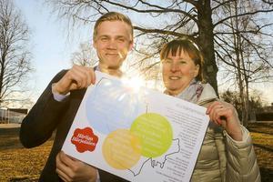 Victor Ericsson och Gunilla Zetterström Bäcke uppvaktar Indelningskommittén i Östersund under tisdagen för att få ingå i en region söderut.