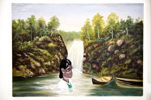 Carl-Johan De Geer fick lämna ifrån sig sin målning av okänd konstnär som han använt som rekvisita i flera filmer. Nu har den kompletterats med en badande kvinna.