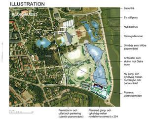 Så här presenteras sjöparksområdet i en av de skisser som finns med i detaljplaneförslaget. Skiss: Per Flodström, Kumla kommun