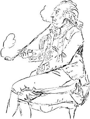 Sveriges nationalskald Carl Michael Bellman dansade efter maktens pipa. Teckning av Johan Tobias Sergel från 1792.