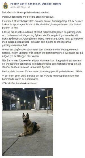 Polisen skrev ett inlägg på sitt Facebookkonto om händelsen.