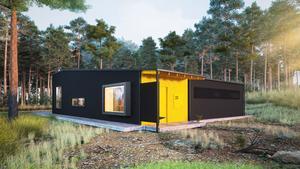 Framtidens boende från utsidan. Huset är flexibelt med många tillval för att passa alla.