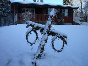 Kvarglömd majstång i snötäcke