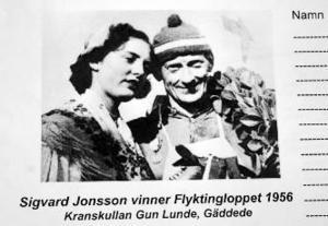 Sigvard Jonsson och kranskullan Gun Lunde, från Gäddede. Flyktingloppet 1956.