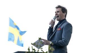 Micke Leijnegard vid nationaldagsfirandet på Skansen i Stockholm.