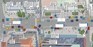 TOLV ÅR SENARE. Stora gatan byggdes om mellan Källgatan och Slottsgatan år 2000. Målet var en gatsträcka som ger mer utrymme åt gångtrafikanterna genom bredare trottoarer. Men det blev lite rörigt... (Se grafiken i en större version längre ned till höger i artikeln.)