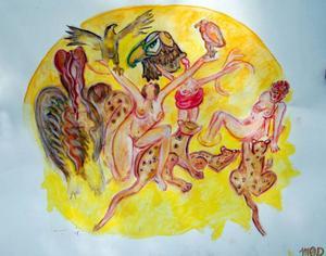"""""""Det är lite Chagall över Maud Carlsten"""", säger konsthandlaren Mikael Arono-witsch som ska ställa ut hennes tavlor."""