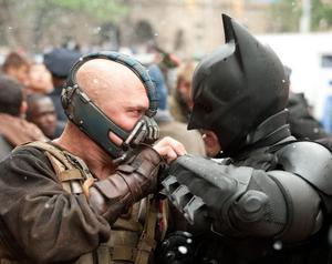 I den avslutande trilogin om Batman får vår hjälte slåss mot den skräckinjagande Bane (Tom Hardy).