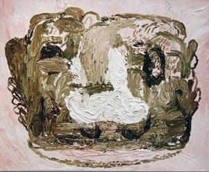 """Öye, nese, munn"" av Karima Risk, tidigare elev till Kåre Henriksson, nu visas hennes måleri på Ahlbergshallen."