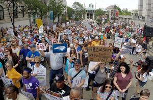 Demonstration mot House Bill 2 i Raleigh, N.C., i april. HB2 är