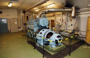 Den här generatorn skulle försörja bergrummen med elström om det blev strömavbrott.