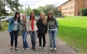 Chloe Hallet, Frankrike, Anna Westman, Finland, Iréna Listiakovà, Tjeckien, Melissa Krupp, Tyskland och  Sabrina Friedrich, Tyskland, har börjat på Högskolan i Falun. FOTO: ILSE VORNANEN
