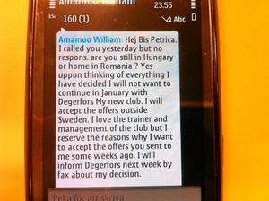 Ett av smsen till NA:s Jonas Brännmyr.