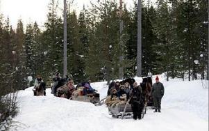 Forkörarna på väg mot första övernattningen i jaktlagets samlingshus i Ryan. FOTO:LEIF OLSSON