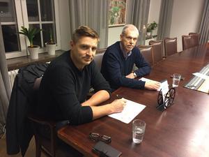 Lars Isacsson och Anders Friberg har börjat förhandla med ett företag som vill köpa ett 150 fotbollsplaner stort område norr om Horndal.