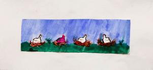 Viktoria Jönsson, 11 år, Gällö. Fyra hönor som ruvar på ägg. Kanske värper den lila påskägg?Sandra Lundin, 12 år, Offerdal. Kyckling i ägg  i färgglad rivteknik.