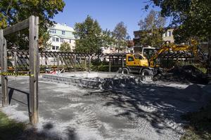 Området runt fontänen i Skolparken är först ut att åtgärdas när parken rustas.