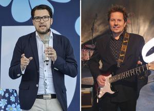 Rasistiska Sverigedemokraternas partiledare Jimmie Åkesson och musikern Simon Ådahl, vars låt får en cover.