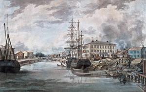 Ferdinand Tollin var verksam som konstnär i hemstaden Gävle på 1830-talet. Så här skildrade han Gavleån med det stora skeppsvarvet och gymnasieskolan på norra sidan.