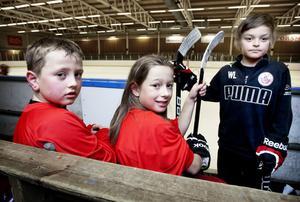Ovakohallens frikostiga friåkningstider passar de här hockeykillarna utmärkt: Från vänster: Sebastian Skogtoft, Filip Björklund och William Lindblad.