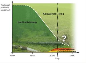 Diagrammet från ArtDatabankens rapport Tillståndet i skogen (Sveriges Lantbruksuniversitet 2011) visar att den lilla gröna snutten längst till höger är på väg att skövlas trots allt fagert tal. Sverige är redan i dag ett av världens sämsta länder när det gäller skydd av skog. Det finns mindre än två procent skyddad skog nedanför fjällskogen enligt SCB:s senaste statistik.
