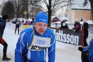 Jörgen Olmats(pappa) ser nu mål framför sig och stakar på in i det sista. Hans första Vasalopp avklarat!