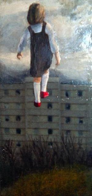 """""""På väg"""" av Stina Wollter, en målning med hemligheter som lyfter bilderna över den banala """"duktigheten"""", skriver Leif Öhr."""