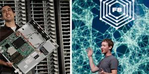 Amir Michael är chef over Facebooks hårdvara och visa här upp en komponent till en hårdisk på företagets huvudkontor i Kalifornien. Till höger visar Facebooks VD Mark Zuckerberg upp företagets funktion.