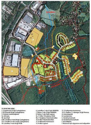 Till vänster på kartan är Hemlingby köpcentrum och till höger den nya stadsdelen. Illustration: Gävle kommun