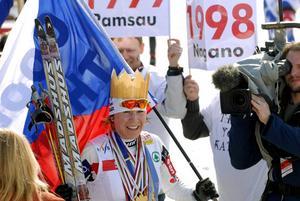 Tjeckiskan Katerina Neumannova på andra plats och som gjorde sin sista tävling. Foto: Kjell jansson