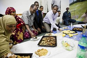 På Gärdeåsen firades Eid al-fitr med mycket mat.