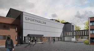 Här är den nya entrén, med en ny övergång/inglasad bro mellan gamla Wargentinskolan och kortsidan av Nya Sporthallen.