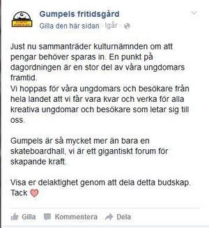 Inlägg på Gumpels facebooksida i torsdags.