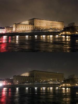 Stockholms slotts fasad under Earth Hour 2008.