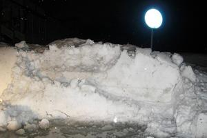 Snöbarriär sätter stopp.