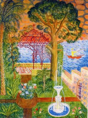 Mårten Anderssons akvarell Blomstrande terrass. Utrop: 20 000–30 000 kronor.