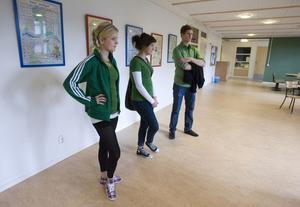 Emma Söderberg, Isabel Brink och Jacob Larsson visar upp lokalerna som Go! ska flytta in i inom kort.