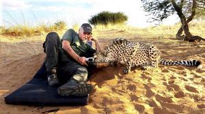 Göran gosar med geparden Flasch.