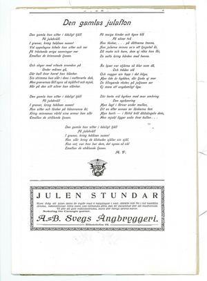 """Oerhört vackerjuldikt """"Den gamlas julafton"""" och en påminnelse från AB Svegs Ångbryggeri attinkomma med rekvisitioner för måltidsdrycker i god tid före julhelgen."""