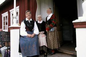 Dräkterna är från tre socknar. Ulla Forslund bar Ovanåkersdräkten, Britta Fasth Bollnäsdräkten och Ingrid Persson, Alftadräkten under nationaldagen i Alfta.