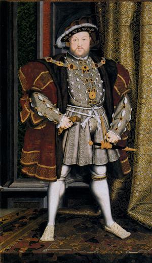 Porträtt av Hernik VIII från 1537. Trots att hans som engelsk kung genom drev en hårdför brytning med katolska kyrkan i sitt rike, var han livet ut trogen katolik.