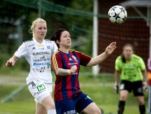 Angelica Lindholm Forsell gjorde sitt elfte seriemål mot SDFF. Nu blickar Selånger upp i tabellen.