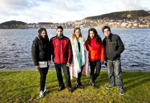 Emilia, Christopher, Sofia, Emilia och Andreas Vithal återförenades i Östersund. Foto: Per Landfors