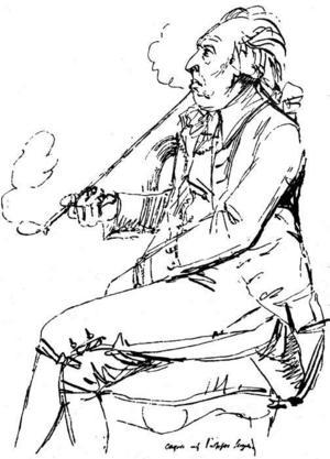 Carl Michael Bellman var väl förtrogen med de båda bordellerna som sände flickor till Gävle.Teckning: Johan Tobias Sergel