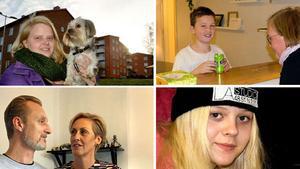 Sandra, Adrian, Monika, Fredrik, Ulrika och Nirina delar med sig av sina erfarenheter i serien.