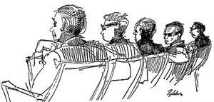 PÅ FEL SIDA. Två bilskollärare och en bilinspektör dömdes av rådhusrätten i Gävle 1963 för att ha sålt hundratals körkort till människor som varken tagit körlektioner eller öppnat teoriboken. På Rune Rydlius teckning från rättegången syns de åtalade tillsammans med sina försvarare.