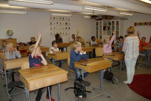 Eleverna i Björkängsskolans årskurs 1 var engagerade under den första skoldagen.