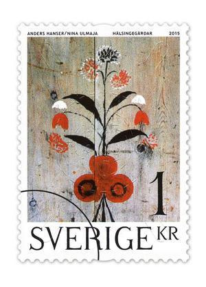 Väggmålning föreställande blommor från gammelgården i Fågelsjö, Los. Bild: PostNord